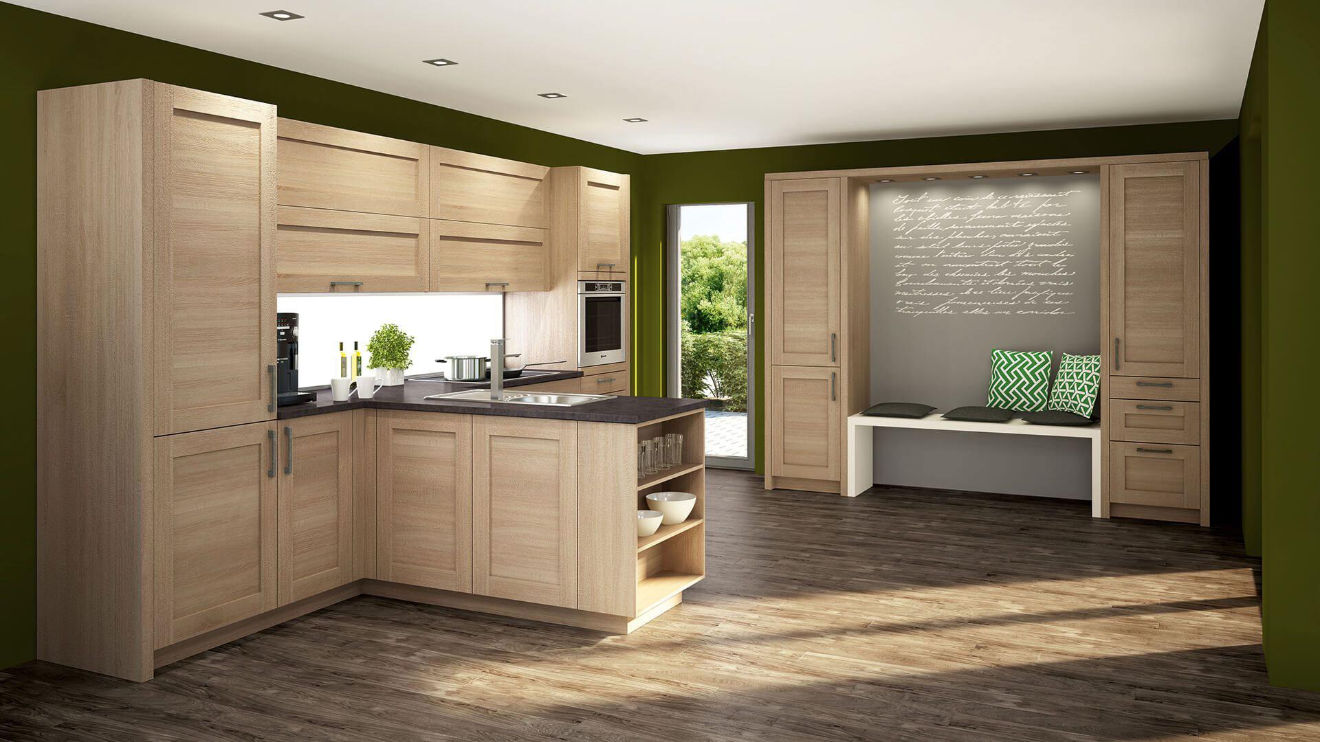 Küchenfußboden aus PVC in Holzoptik
